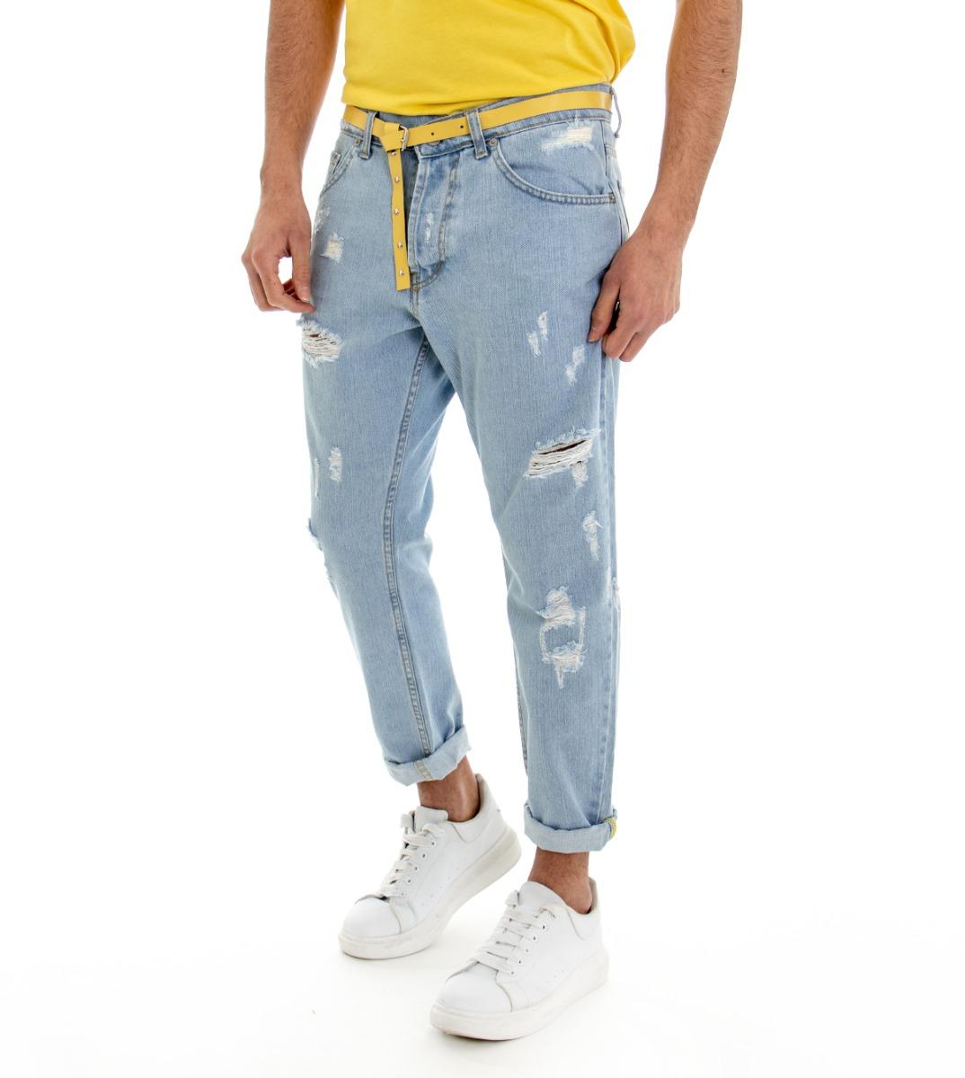 Pantalone-Denim-Chiaro-Uomo-Jeans-Cinque-Tasche-Con-Rotture-MOD-Cotone-GIOSAL miniatura 5