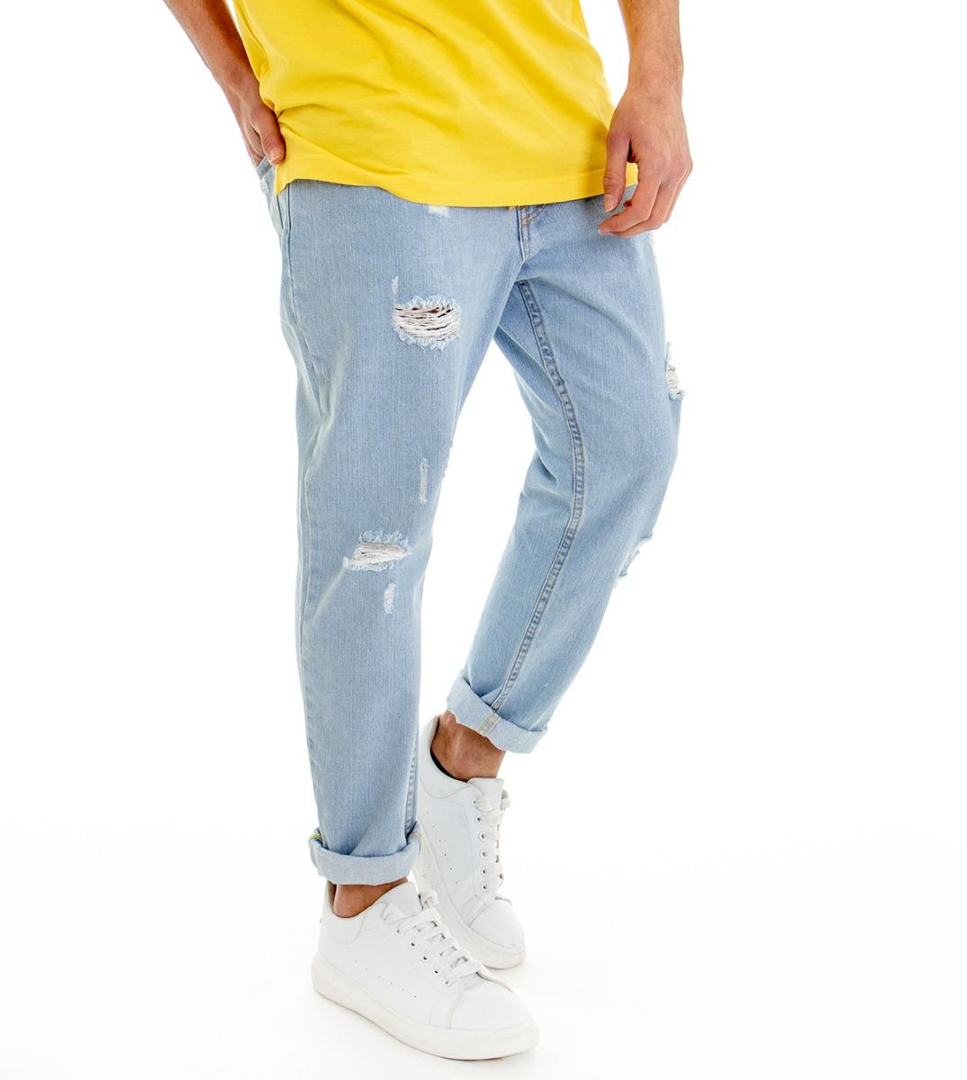 Pantalone-Denim-Chiaro-Uomo-Jeans-Cinque-Tasche-Con-Rotture-MOD-Cotone-GIOSAL miniatura 11