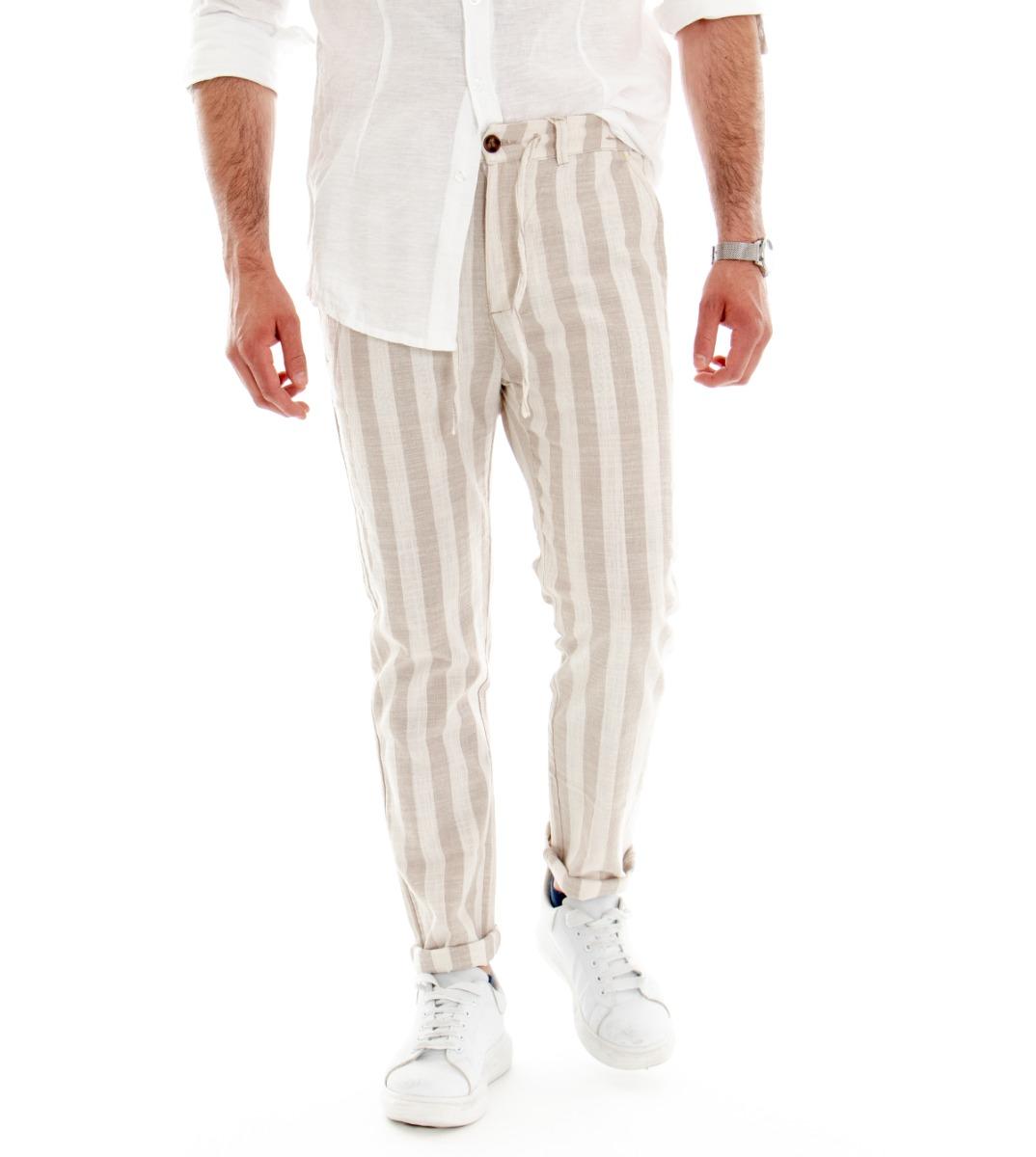 massa rotazione Paesaggio  Pantalone Uomo Lino Cotone Lungo Righe Beige Tasche America Tasca Filetto  GIOSAL   eBay