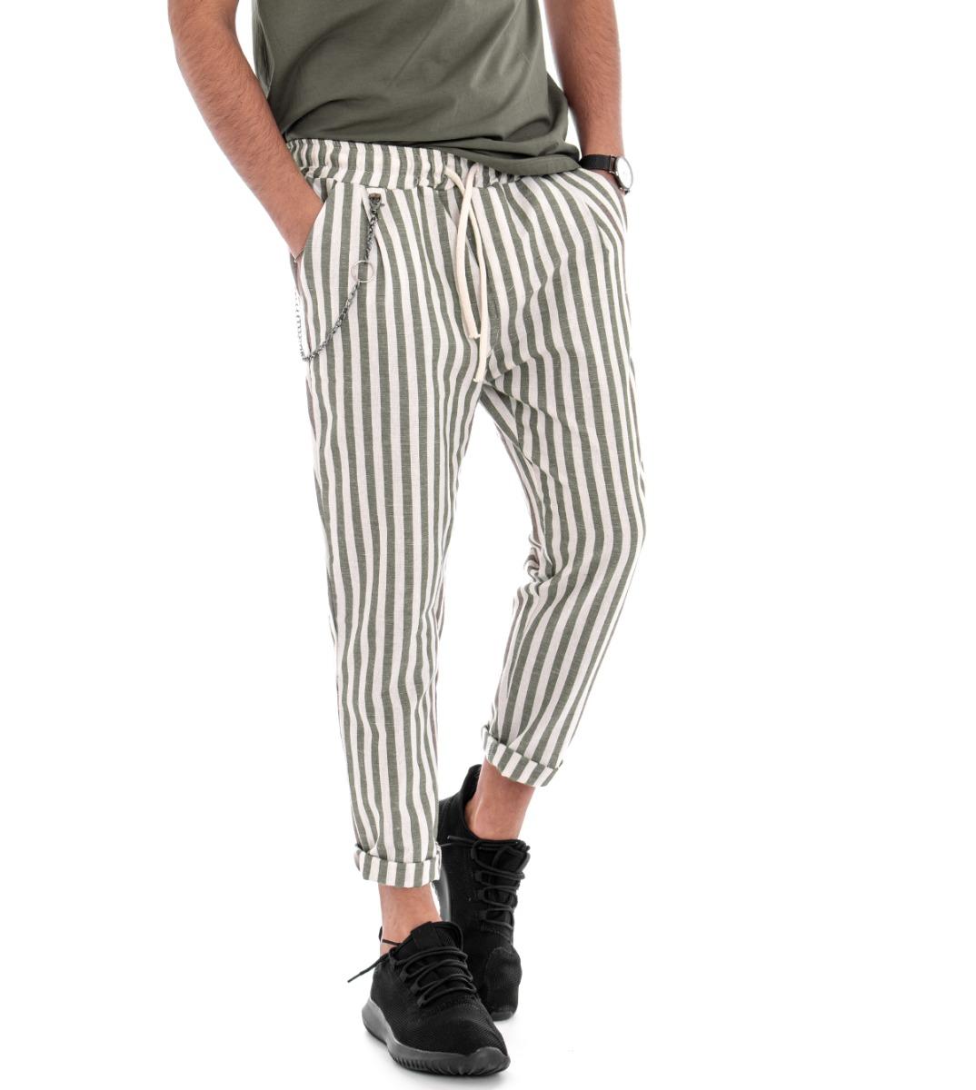 Pantalones Lino Hombre De Rayas Elastico Tiro Caido Verde Chandal Casual Giosal Ebay
